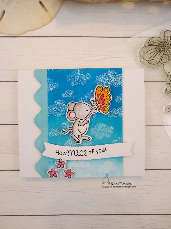 How mice of you by Diane features Garden Mice, Land Borders, and Cloudy Sky by Newton's Nook Designs; #newtonsnook