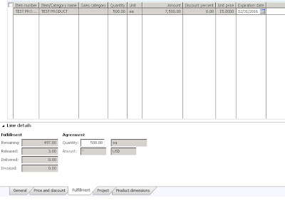 Line view showing fulfillment of sales agreement, decremented by three.