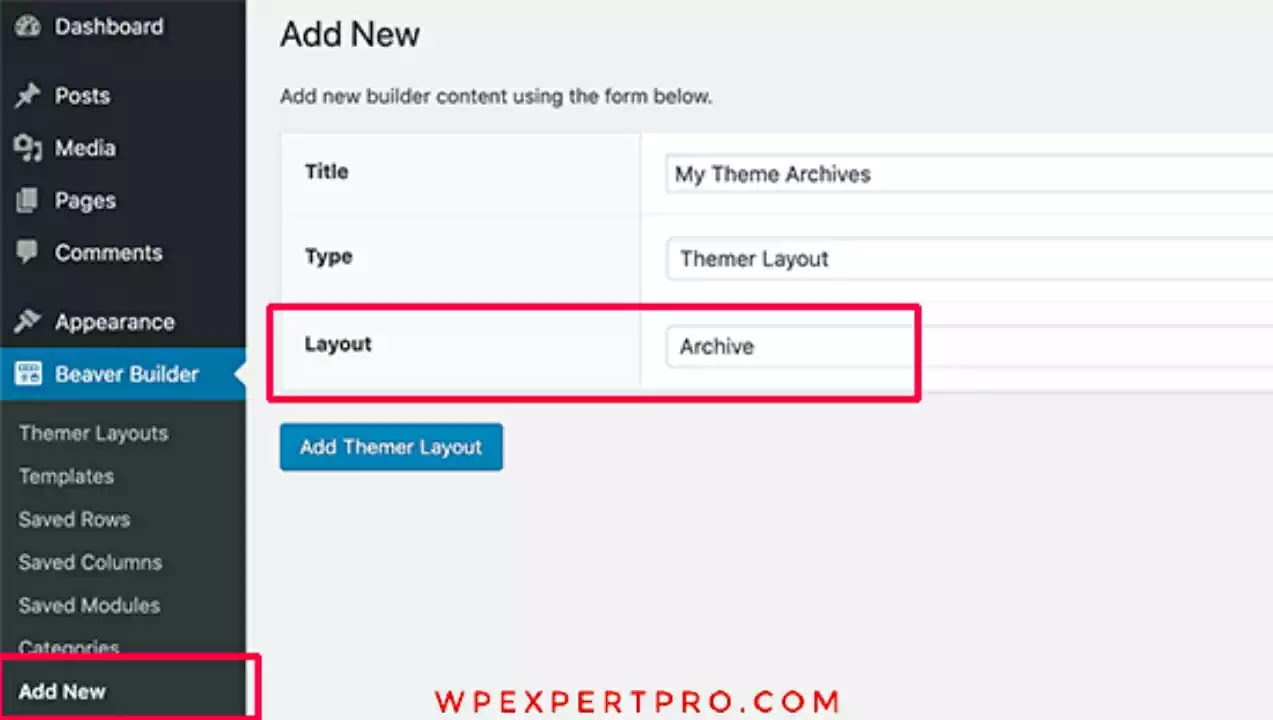 Create an archive layout