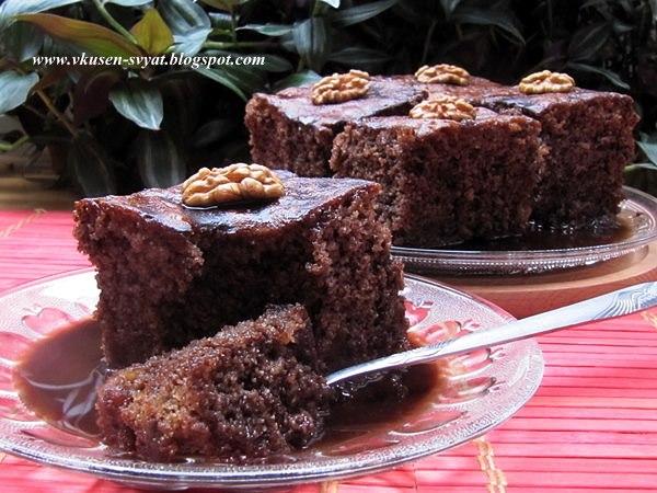 Мелахрини каридопита Брюнетка - гръцки сиропиран орехов сладкиш / Melachrini Karidopita Brunette - Greek Sirupy Walnut Cake