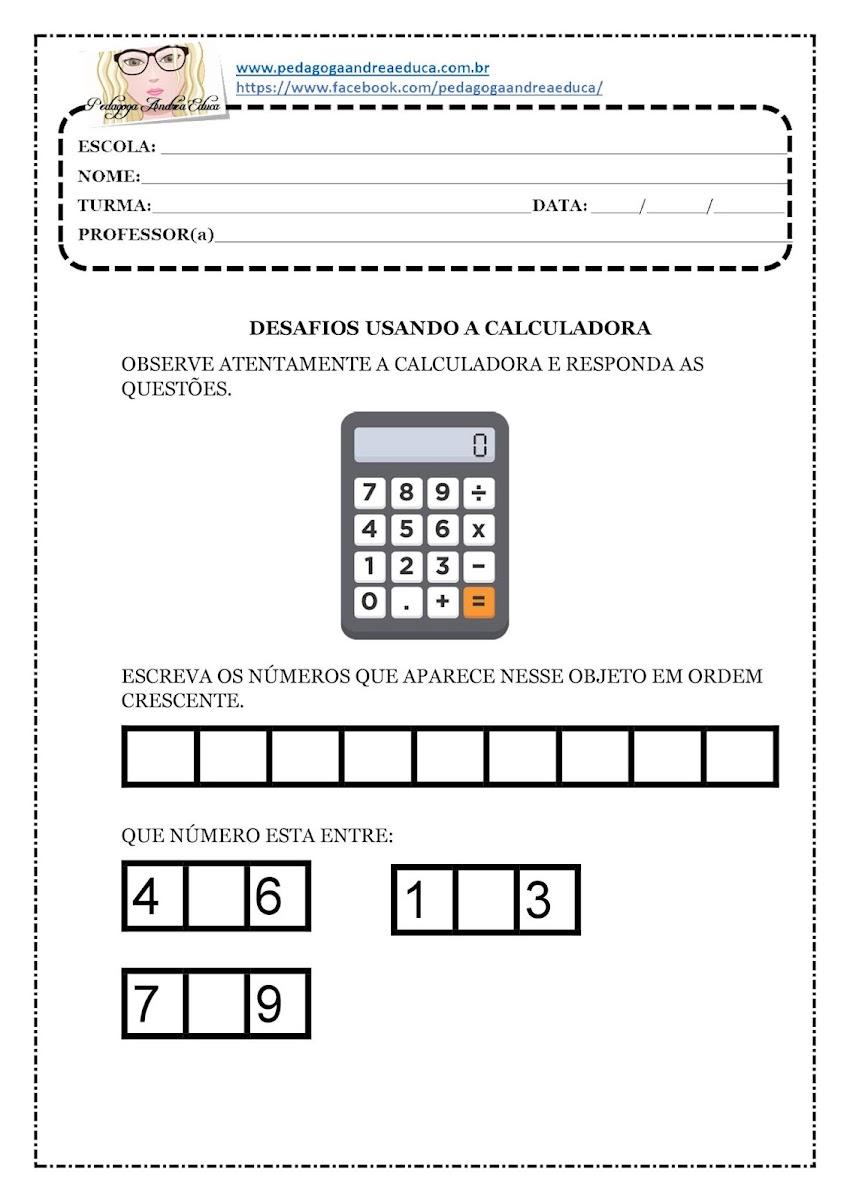 ATIVIDADES PARA IMPRIMIR - DESAFIOS USANDO CALCULADORA