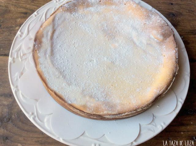 Tarta de queso con azúcar glass