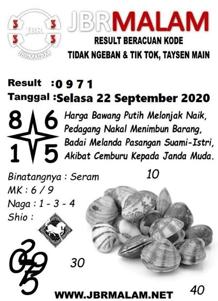 JBR Malam HK Selasa 22 September 2020
