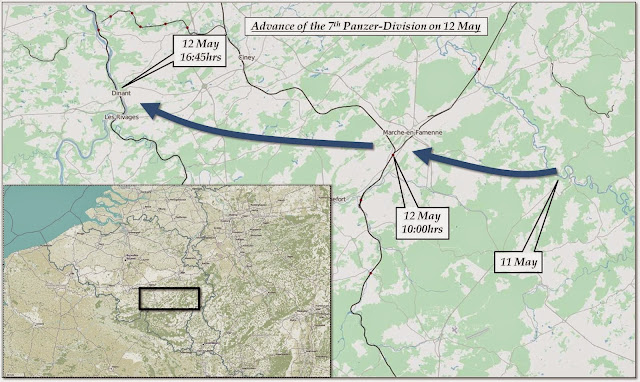 Advance of the 7th Panzer-Division on May 12