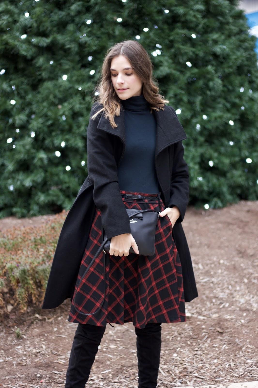 Red and black buffalo check high waisted skirt