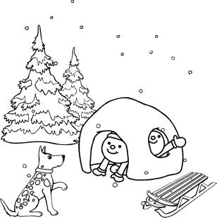 malvorlagen zum ausmalen: winter malvorlage: kinder u. hund im schnee