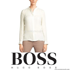 Queen Letizia wore Hugo Boss BOSS 'Bajula' silk blouse