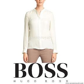 Queen Letizia wore Hugo Boss BOSS 'Bajula' silk blouse