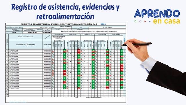 Registro de asistencia, evidencias y retroalimentación – Aprendo en Casa