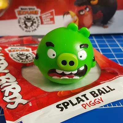 Angry Birds Toy Review Catablind Splat Ball Piggy on table on top of packaging