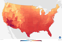 This June was the hottest ever, and July has brought even more heat, particularly in the Midwest. (Credit: NOAA) Click to Enlarge.