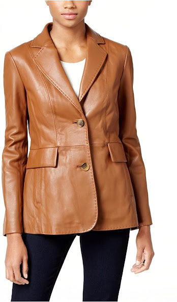 Brown Leather Blazers Jackets For Women
