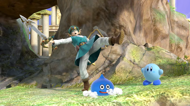 Super Smash Bros. Ultimate DLC Dragon Quest Hero Slime blue Kirby