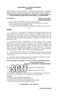 G.O.MS.No. 5, Dt.22.01.20201- Employees Health Scheme – Enhancement of Monthly Subscription for both Employees / Pensioners and Government contribution – Amendment.