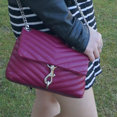 black and white stripe tee dress with Rebecca Minkoff Edie small crossbody bag in magenta | awayfromtheblue