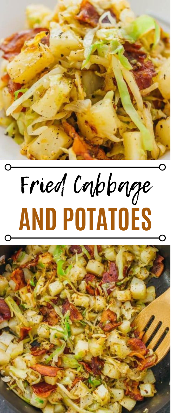 Fried Cabbage and Potatoes with Bacon #easyrecipe #dinner