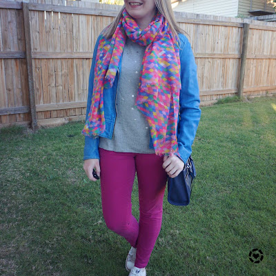 awayfromtheblue Instagram | cobalt leather jacket pink diamond scarf magenta jeans grey knit winter mum style