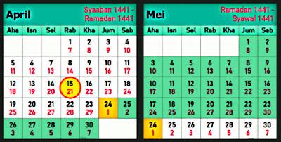 kalendar bulan Ramadhan