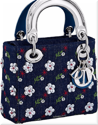♦Dior Lady Dior blue denim top handle mini bag embroidered with silver metallic flowers and silver Dior charms #dior #bags #ladydior #brilliantluxury