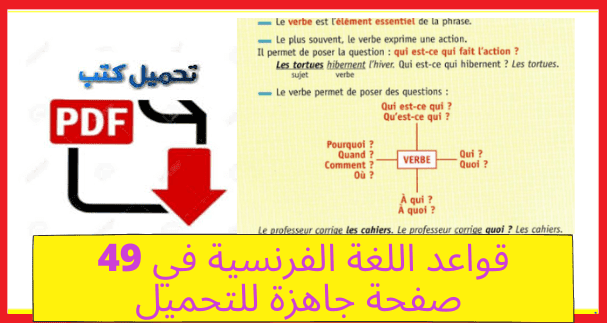 قواعد اللغة الفرنسية بطريقة مبسطة في 49 صفحة جاهزة للتحميل