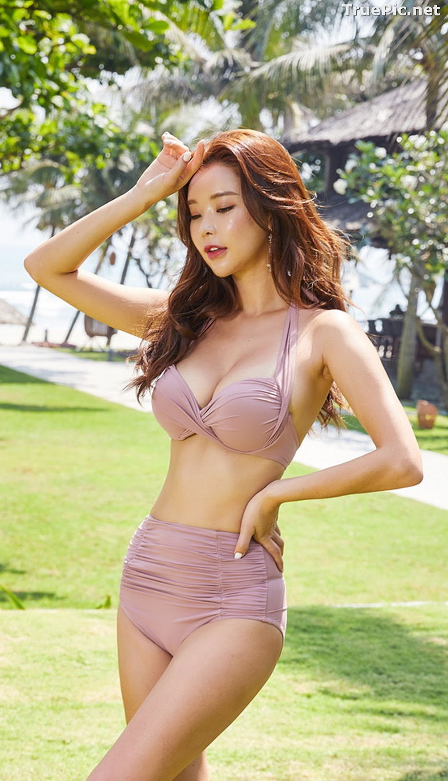 Image Park Da Hyun - Korean Fashion Model - Rose Mellow Pale Pink Bikini - TruePic.net - Picture-4