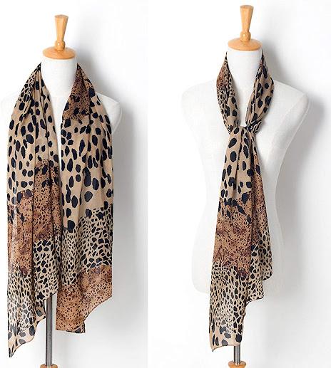 Cute Leopard Pattern Sheer Chiffon Scarf