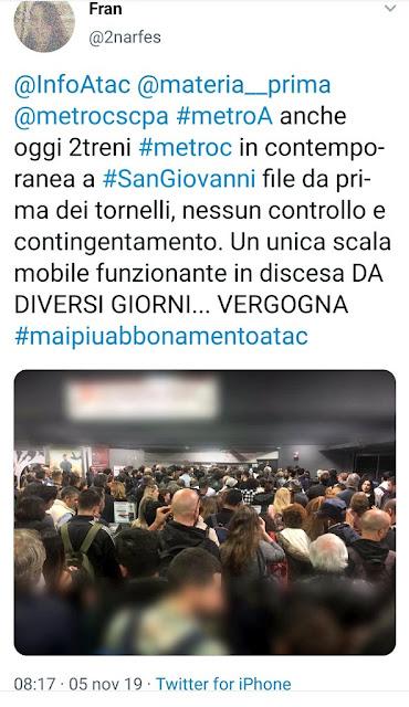 Situazione del trasporto pubblico di Roma di mercoledì 6 novembre