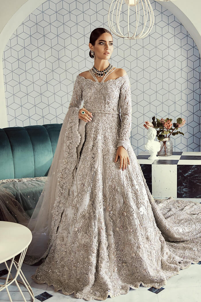 Sufuse by Sana Yasir Silver Bridal Walima Dress