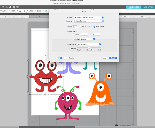 silhouette studio print preview, print and cut, printable material, printer, Silhouette Studio v4