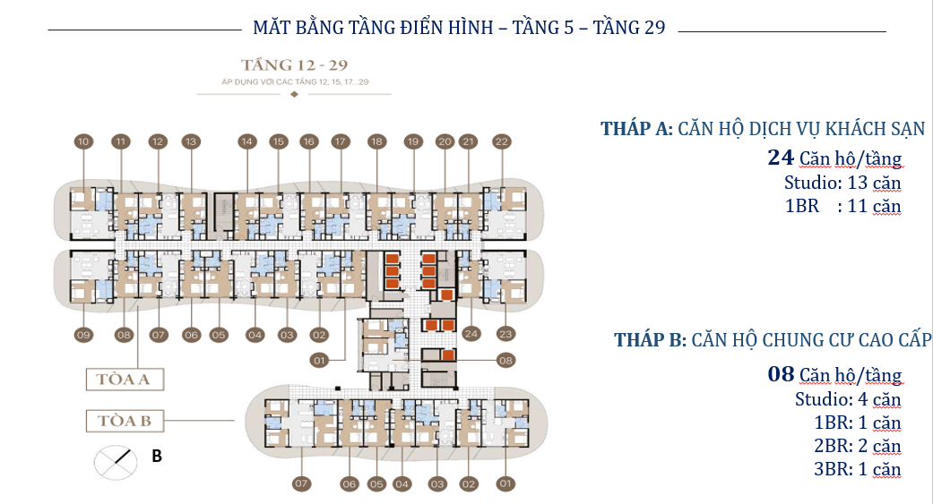 Măt bằng tầng 5 - 29 Citadines