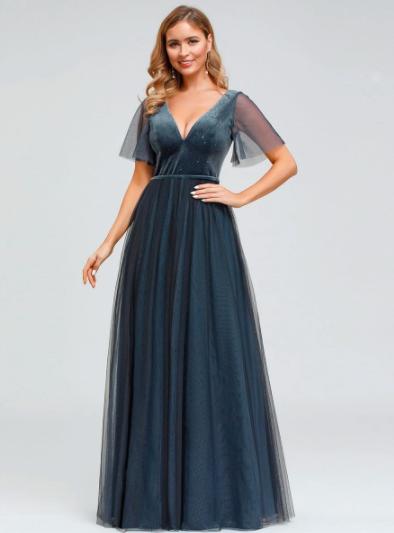 Women's V-Neck Floor Length Tulle and Velvet Evening Dresses