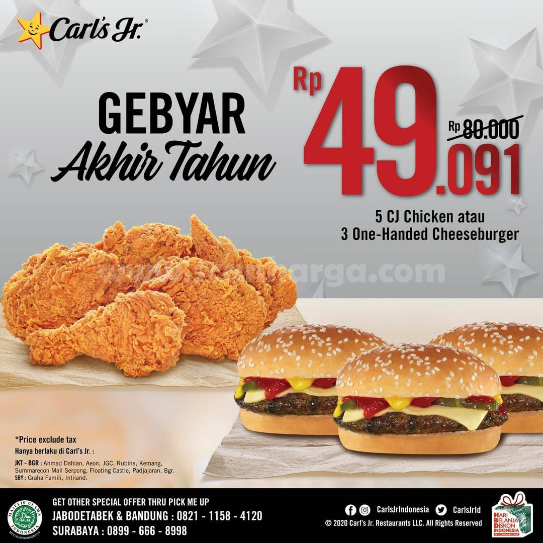 CARLS Jr Gebyar Akhir Tahun – Promo PAKET 5 CJ Chicken atau 3 One-Handed Cheeseburger hanya Rp 49.091
