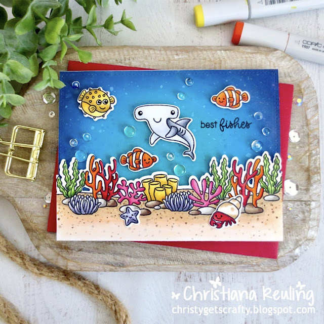 Sunny Studio Stamps: Best Fishes Tropical Scenes Customer Card by Christiana Reuling