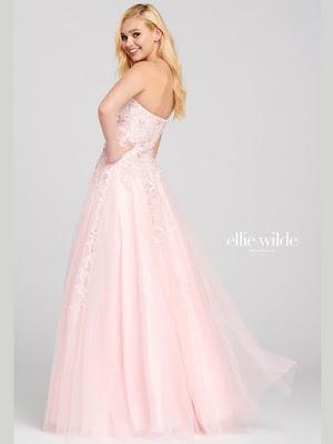 Ellie Wilde Strapless a-line pink color prom dress back side