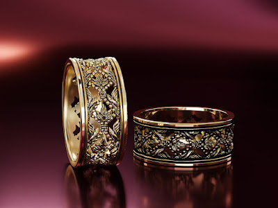 Vintage Decorative Ring. Jewellery 3D Rendering.