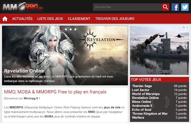 Page d'accueil du site MMORPG.fr