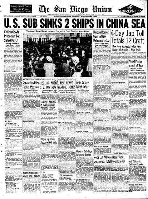 San Diego Union, 8 April 1942 worldwartwo.filminspector.com