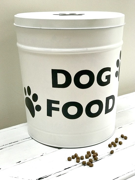 Recycled Dry Dog Food Container storage with vinyl lettering