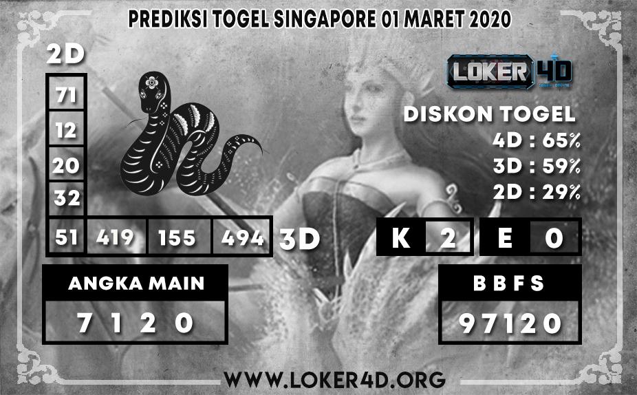 PREDIKSI TOGEL SINGAPORE LOKER4D 01 MARET 2020