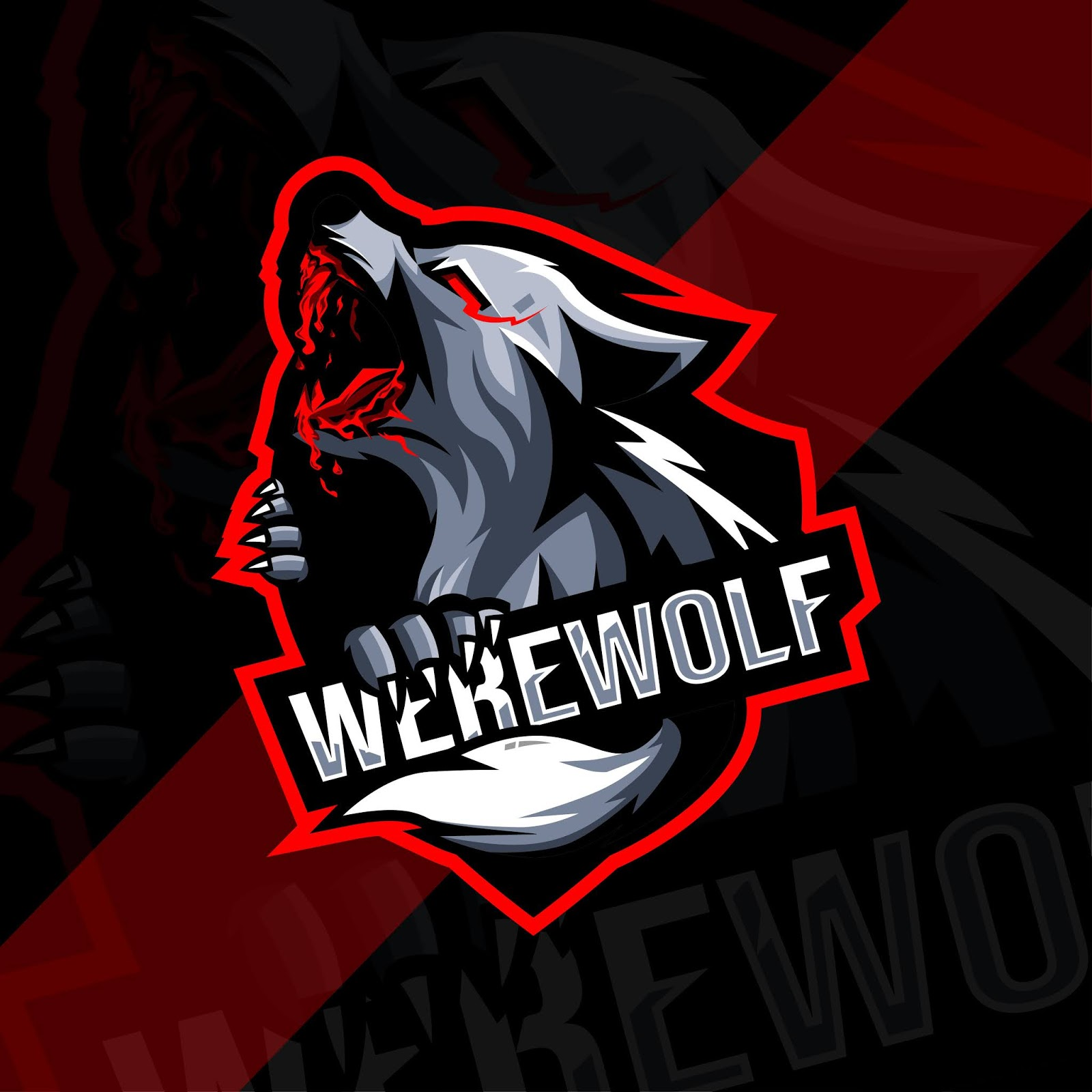 Angry Werewolf Mascot Logo Esport Template Free Download Vector CDR, AI, EPS and PNG Formats