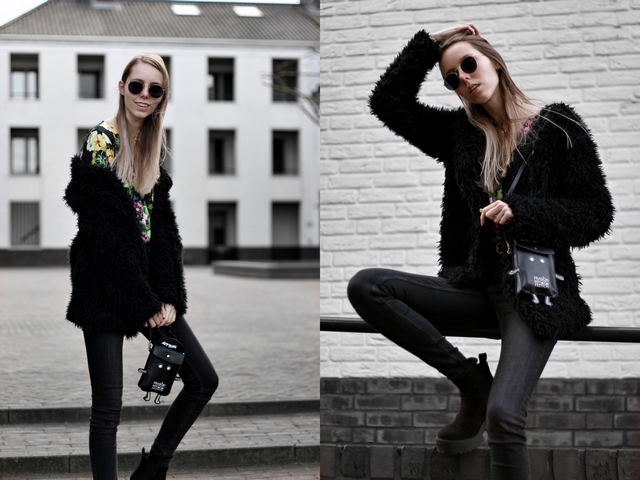 Outfit met zwarte Chiquelle body met bloemenprint monki skinny jeans froufrou's tasje polette dean zonnebril fluffy vest costes primark platform laarsjes