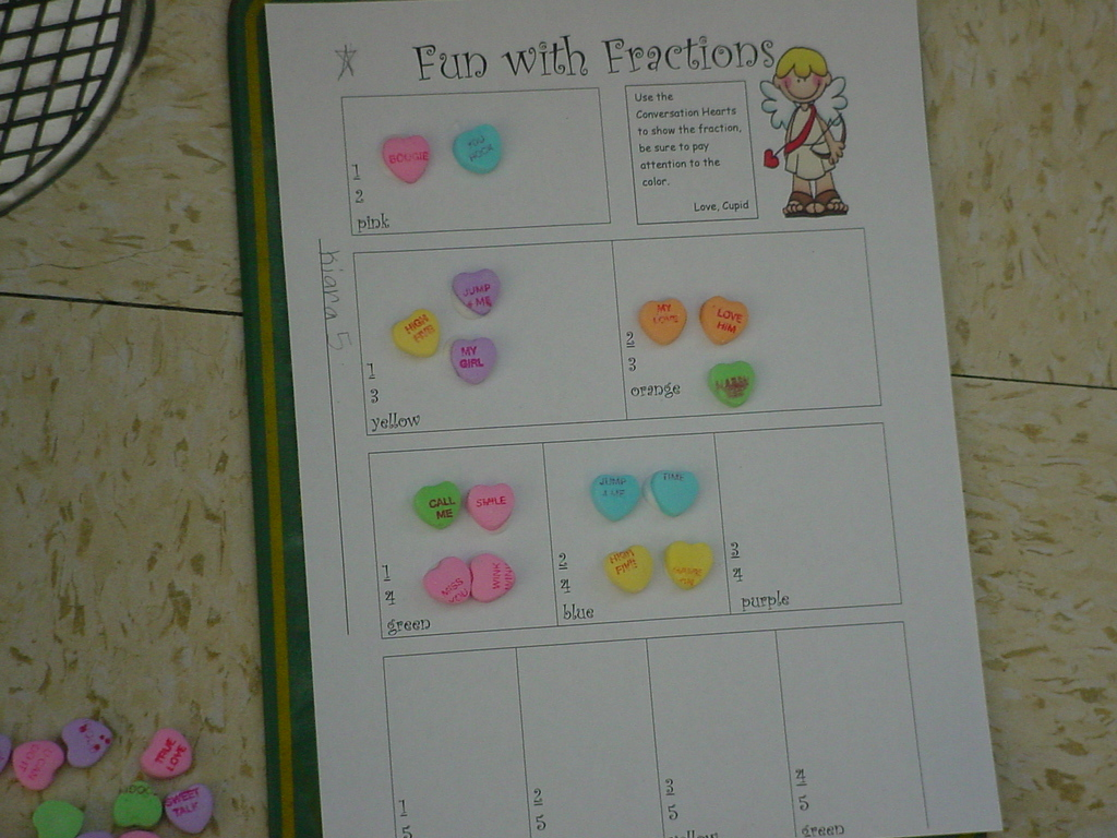 Diary Of A First Grade Teacher Fractions With Conversation Hearts