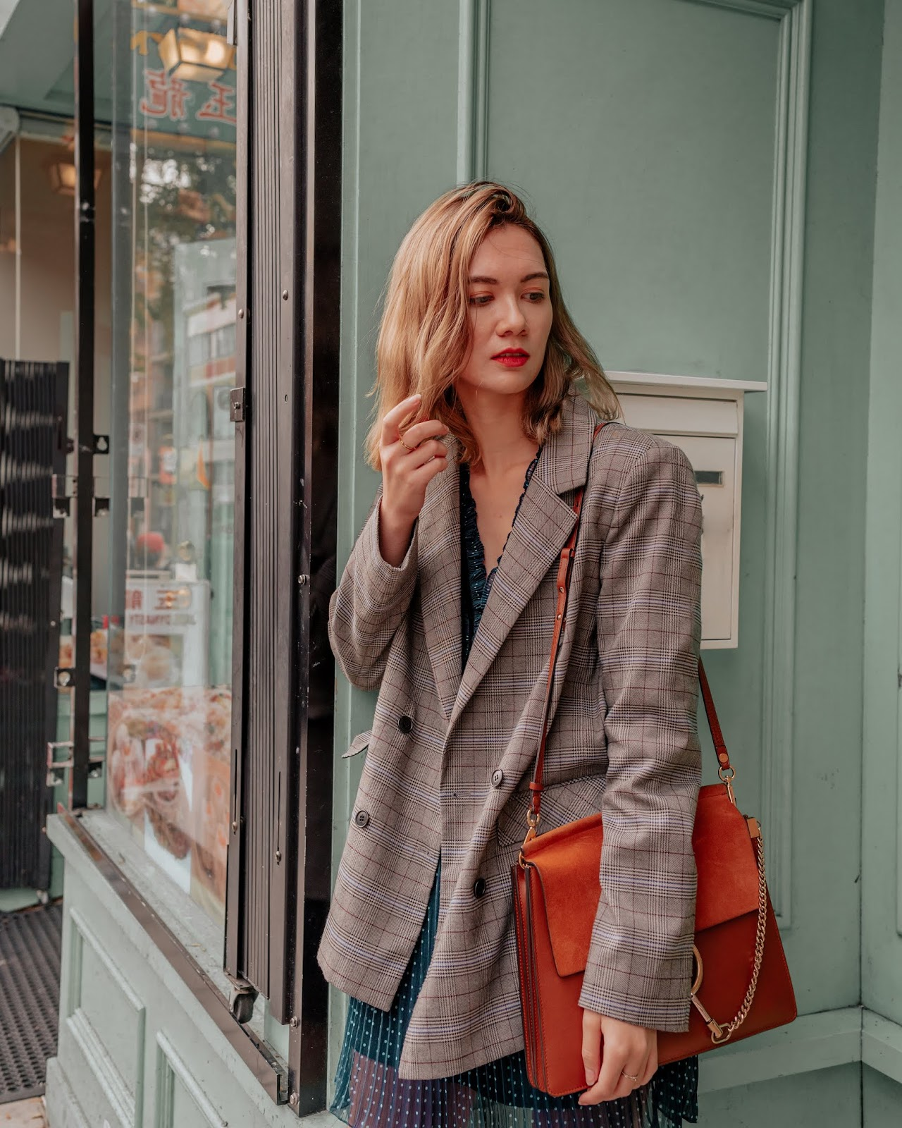 Camel tones, vancouver blogger, fall trends, fall 2018 trends, camel coat, cozy outfit for winter, fall outfit, fall style, canadian style, canadian fashion blogger, plaid blazer, fall dresses, chloe faye, blondo booties