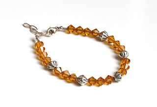 Topaz Crystals Sterling Silver Beaded Bracelet