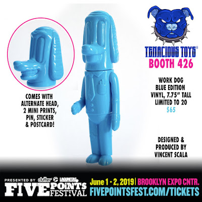 Five Points Festival 2019 Exclusive Blue Work Dog Vinyl Figure by Vincent Scala x Tenacious Toys