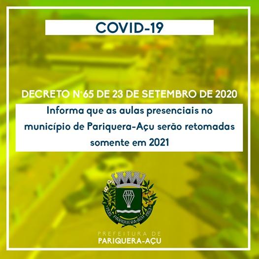 Aulas presenciais em Pariquera-Açu será retomadas somente em 2021