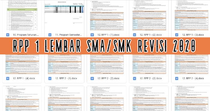 GAMBAR rpp SATU lembar SMA SMK revisi 2020