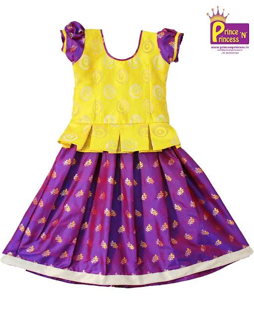 Yellow Purple Pattu pavadai Lehenga