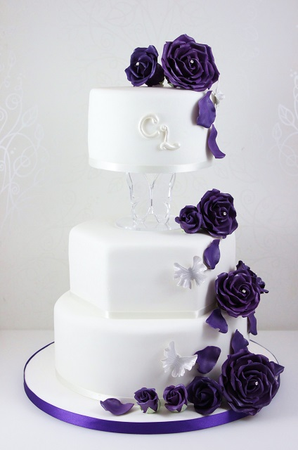 Blue Purple Orchid Wedding Cake