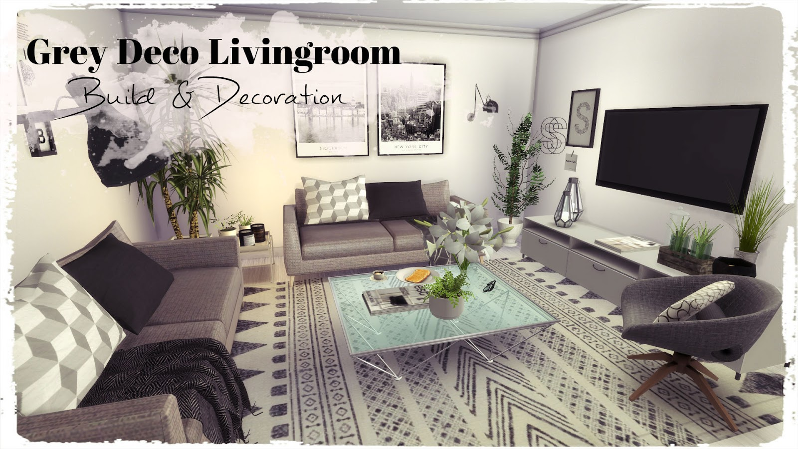 Sims 4 grey deco livingroom build decoration for for Deco appartement sims 4